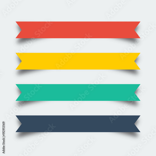 Valokuvatapetti Set of ribbons banners in flat design with shadow