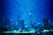 digital circuit line on blue night city background