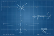 Blueprint Of Military Drone In Outline Style. Top, Front And Side View. Army Aircraft For Intelligence And Attack. Industrial Isolated Drawing