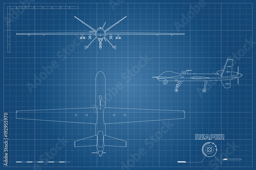 Photo  Blueprint of military drone in outline style