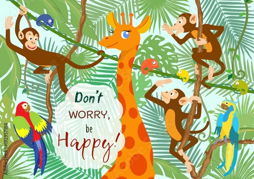 Cartoon set of animals on tropical leaves background. Vector illustration. #192957184