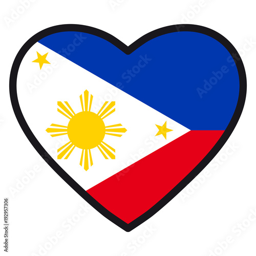 Flag Of Philippines In The Shape Of Heart With Contrasting Contour