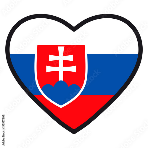 Flag Of Slovakia In The Shape Of Heart With Contrasting Contour