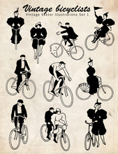 Bicyclists Vintage Set #vector...