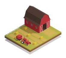 Farm Hay Harvesting Isometric ...