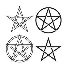 Set Of Pentagram Or Pentalpha ...