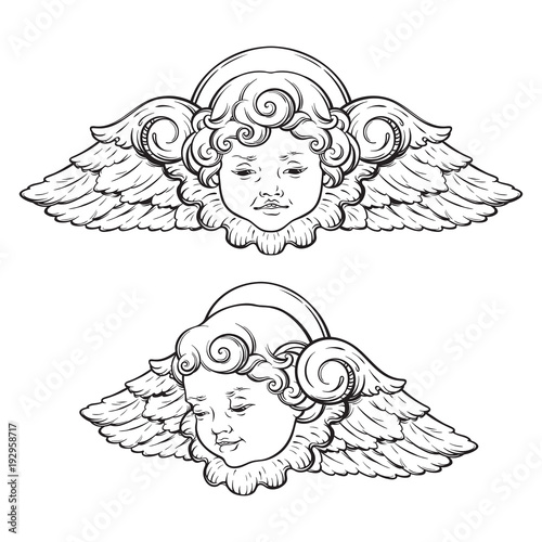 Cherub cute winged curly smiling baby boy angel set isolated over white background Wallpaper Mural