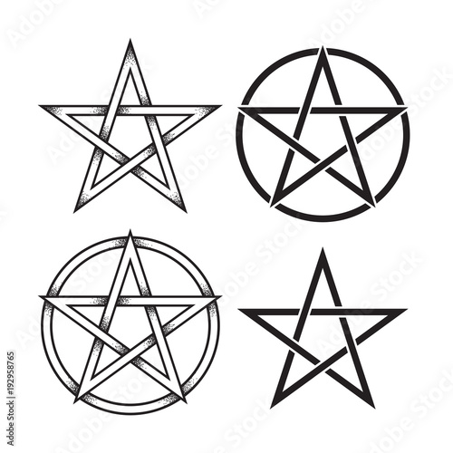 Set Of Pentagram Or Pentalpha Or Pentangle Hand Drawn Dot Work
