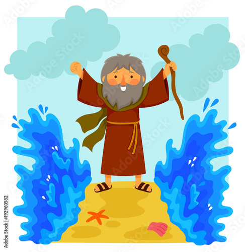 Fotografía Cartoon illustration of happy Moses parting the red sea in the biblical story