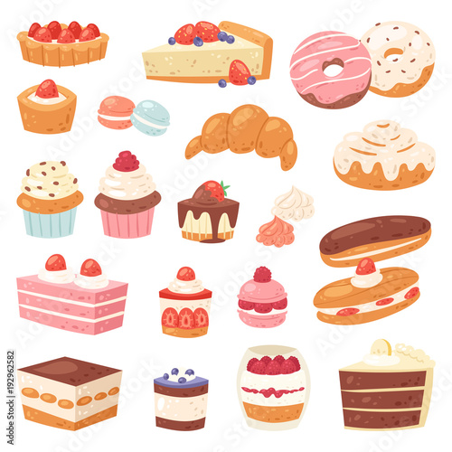 Fototapeta Cake vector chocolate confectionery cupcake and sweet confection dessert with caked candies illustration confected donut with chococream and sweets in bakery set isolated on white background obraz