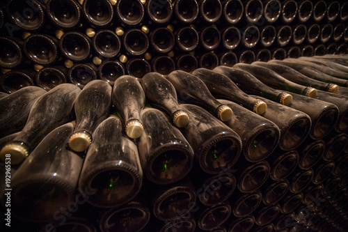 Interior of cellar with bottles of old bottles of champagne