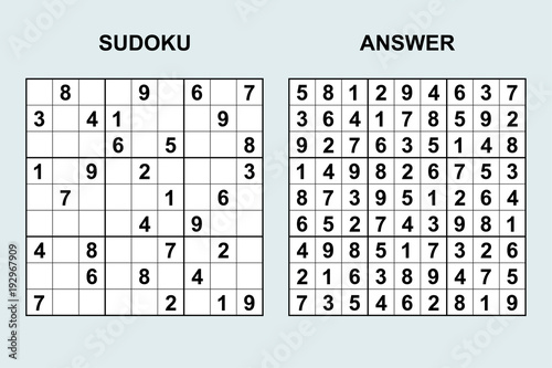 Fotografia  Vector sudoku with answer 115. Puzzle game with numbers.