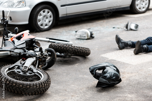 Photo Motorcycle and car accident