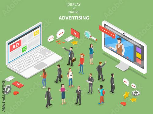 Display vs native advertising flat isometric vector Canvas Print