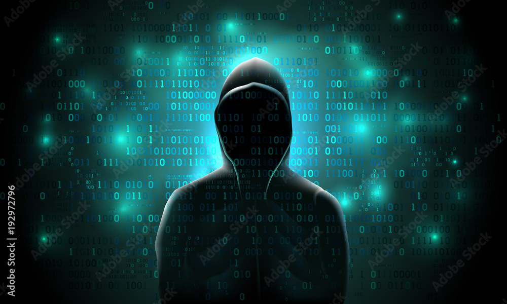 Fototapeta Silhouette of a hacker on a background with binary code and lights, hacking of a computer system, theft of data