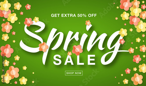 Papiers peints Affiche vintage Spring Sale banner with typographic calligraphic lettering text on bright green background with colorful paper yellow, red, orange paper flowers. Sale vector 50% off. Hand drawn calligraphy.