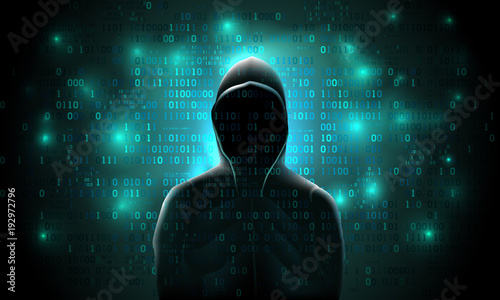 Fotomural Silhouette of a hacker on a background with binary code and lights, hacking of a