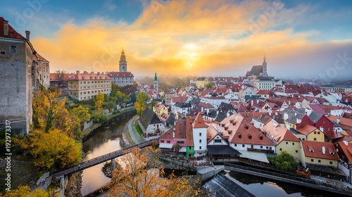 Photo  Historic town of Cesky Krumlov at sunrise, Bohemia, Czech Republic
