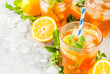 Cold summer drink. iced tea with lemon and mint, on grey stone background. Copy space