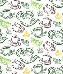 FototapetaHand drawn doodle tea pattern