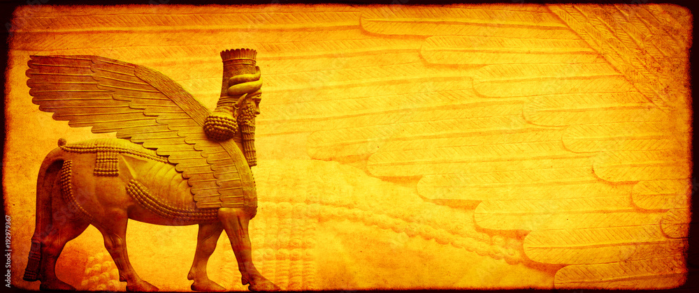 Fototapety, obrazy: Grunge background with paper texture and lamassu