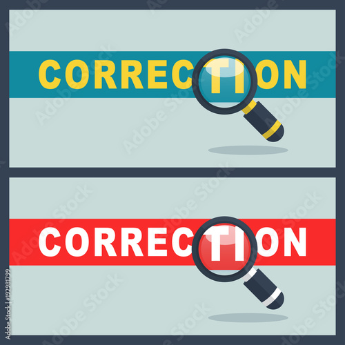 correction word with magnifier concept - Buy this stock