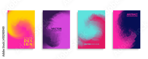 Obraz Covers design set with modern abstract swirl color gradient patterns. Templates collection for brochures, posters, banners and cards. Vector illustration. - fototapety do salonu