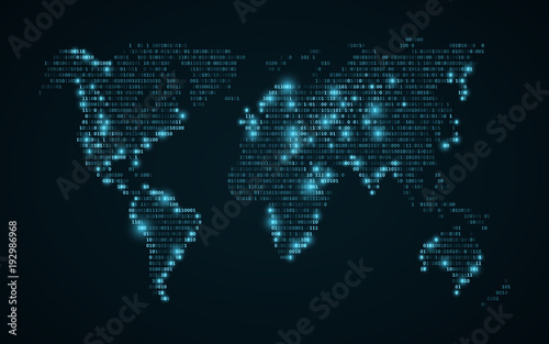Abstract world map of binary code glowing map of the earth dark abstract world map of binary code glowing map of the earth dark blue background gumiabroncs Image collections