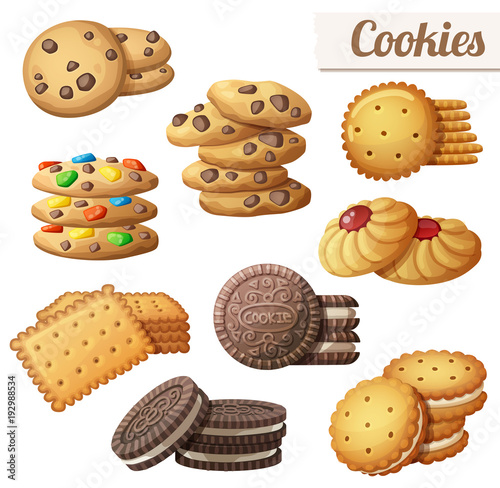 Photo  Cookies. Set of cartoon vector food icons