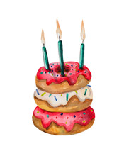 Watercolor Cake Of Donuts In A Glaze With Three Candles. Ironic Composition For Greeting Theme. Object On A White Background, Suitable For Compositions On The Theme Of Sweets And Food.