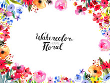 Watercolor Floral Background. ...