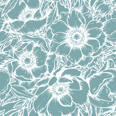 Fototapeta Florystyczny Vector seamless pattern with hand drawn anemone flowers