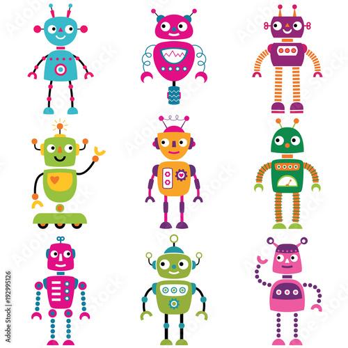 Deurstickers Robots Robot characters, set of nine