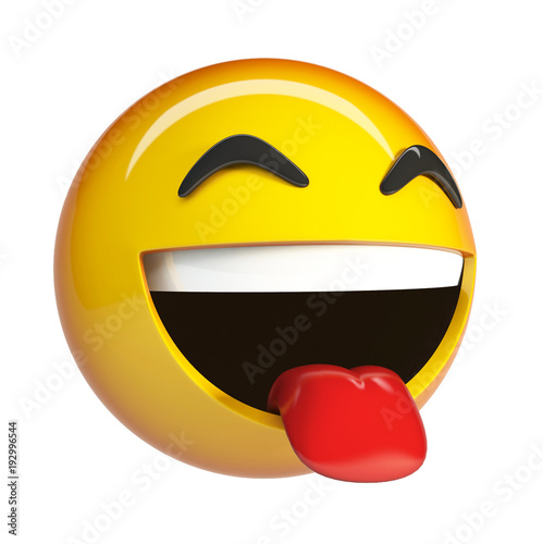 LoL Emoji Laughing Face Emoticon With Sticking Tongue Out 3d Rendering Isolated On White