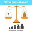 Vector illustration. Math game for kids of school and preschool