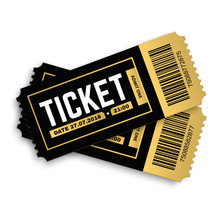 Two, Pair Vector Ticket Isolated Isolated On White Background. Cinema, Theater,  Concert, Play, Party, Event, Festival Black And Gold Ticket Realistic Template Set. Ticket Icon For Website.
