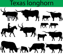 Collection Of Silhouettes Of Texas Longhorn Cattle Breed