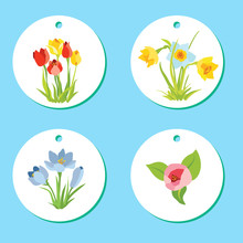 Set Of Labels With Spring Apri...