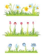 Set Of Spring April Flowery Bo...