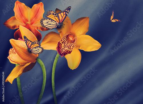 Plakat Kwiecisty tło orchidee, jaskrawi kwiaty na szarości. Zastosowano filtr z ziarnem.