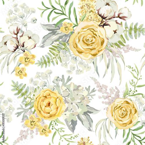 zolci-wiosna-bukiety-na-bialym-tle-akwarela-wektor-wzor-z-delikatnymi-kwiatami-roza-hortensja-bawelna-i-jasnozielone-liscie-romantyczna-ilustracja