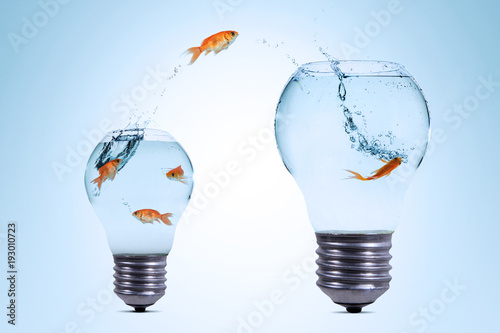 Cuadros en Lienzo Gold fish jumping out from the smaller light bulb shaped aquarium to a bigger on