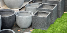 Gray Round And Square Stone Flower Pots For Sale At Garden Store