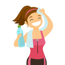 Young Caucasian White Sporty Woman Drinking Water And Wiping Sweat With A Towel After Workout. Healthy Lifestyle Concept. Vector Cartoon Illustration Isolated On White Background. Square Layout.