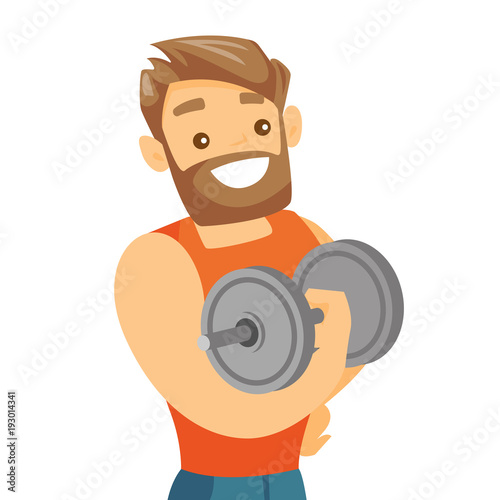 Young caucasian white strong bodybuilder doing exercises with a heavy weight dumbbell Wallpaper Mural