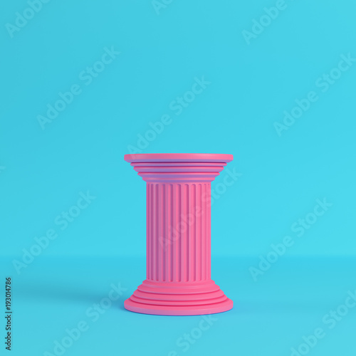 Fotografie, Obraz  Pink ancient pillar on bright blue background in pastel colors