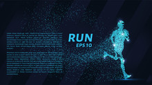 Run Out Of Particles. The Runner Consists Of Dots And Circles. Blue Runner On A Dark Background.