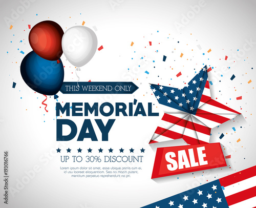 Fotografie, Obraz  happy memorial day sale vector illustration design