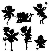 Silhouette Set Of Fairies