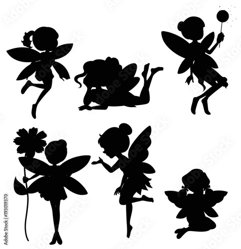 Silhouette set of fairies Fototapeta